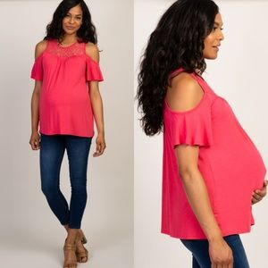 Pinkblush Maternity Pink Lace Cold Shoulder Top